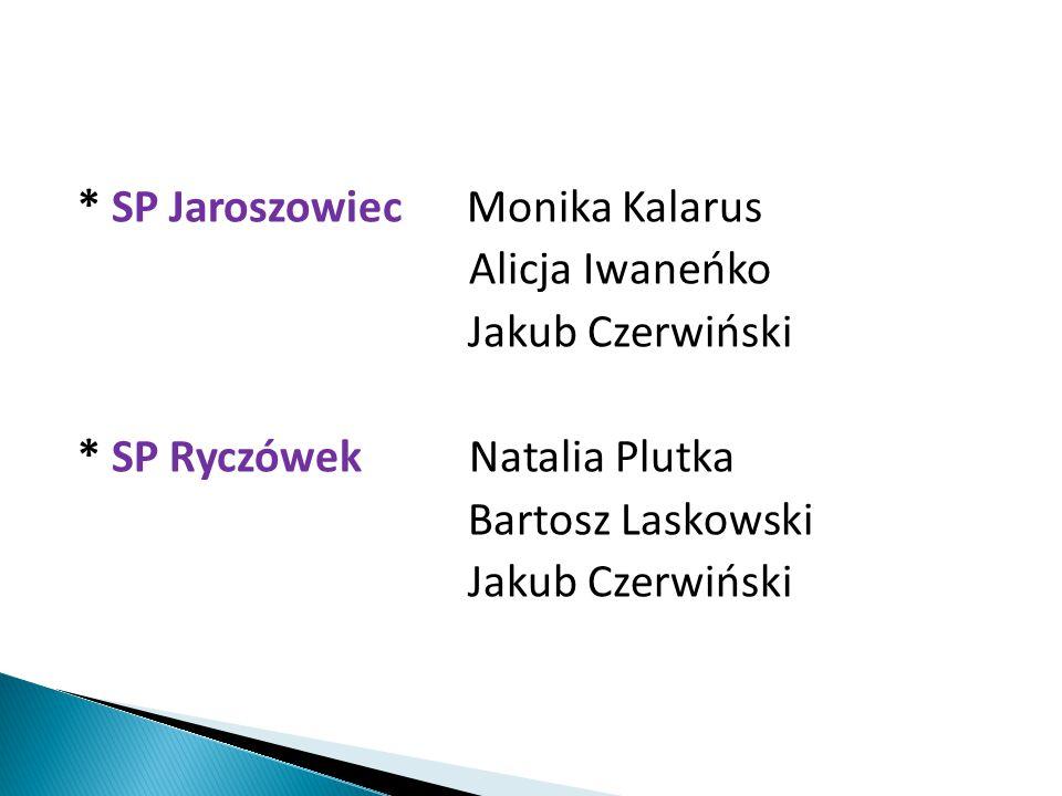 * SP Jaroszowiec Monika Kalarus Alicja Iwaneńko Jakub Czerwiński * SP Ryczówek Natalia Plutka Bartosz Laskowski Jakub Czerwiński