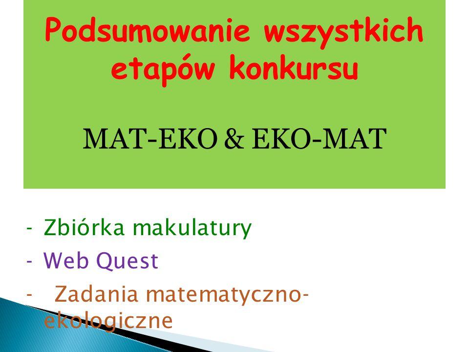 Podsumowanie wszystkich etapów konkursu MAT-EKO & EKO-MAT -Zbiórka makulatury -Web Quest - Zadania matematyczno- ekologiczne
