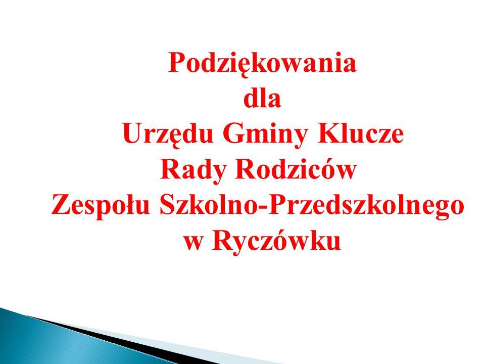 Podziękowania dla Urzędu Gminy Klucze Rady Rodziców Zespołu Szkolno-Przedszkolnego w Ryczówku
