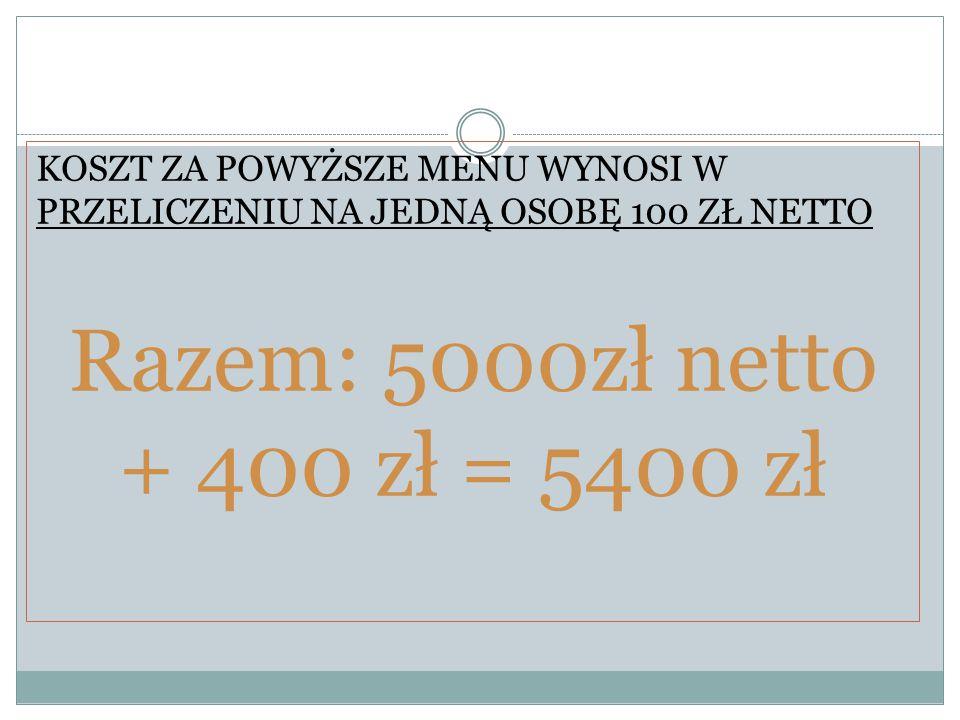 KOSZT ZA POWYŻSZE MENU WYNOSI W PRZELICZENIU NA JEDNĄ OSOBĘ 100 ZŁ NETTO Razem: 5000zł netto + 400 zł = 5400 zł