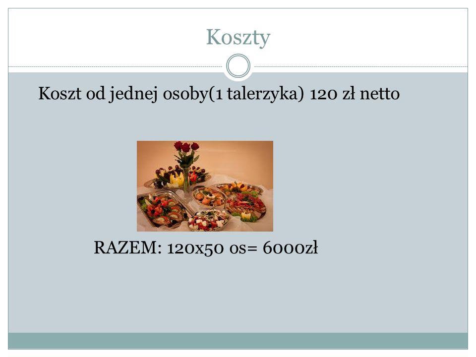 Koszty Koszt od jednej osoby(1 talerzyka) 120 zł netto RAZEM: 120x50 os= 6000zł