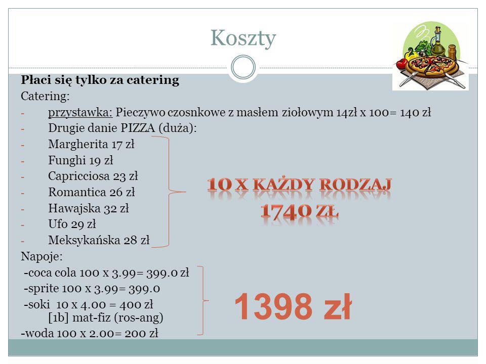 Koszty Płaci się tylko za catering Catering: - przystawka: Pieczywo czosnkowe z masłem ziołowym 14zł x 100= 140 zł - Drugie danie PIZZA (duża): - Marg
