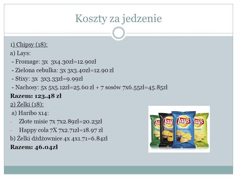 Koszty za jedzenie 1) Chipsy (18): a) Lays: - Fromage: 3x 3x4.30zł=12.90zł - Zielona cebulka: 3x 3x3.40zł=12.90 zł - Stixy: 3x 3x3.33zł=9.99zł - Nacho