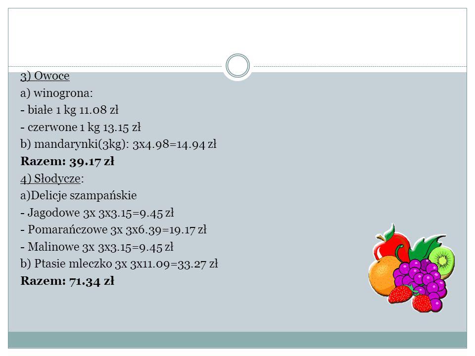 3) Owoce a) winogrona: - białe 1 kg 11.08 zł - czerwone 1 kg 13.15 zł b) mandarynki(3kg): 3x4.98=14.94 zł Razem: 39.17 zł 4) Słodycze: a)Delicje szamp