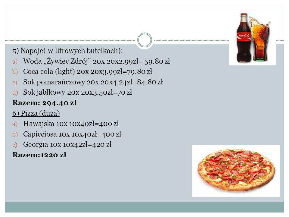 """5) Napoje( w litrowych butelkach): a) Woda """"Żywiec Zdrój"""" 20x 20x2.99zł= 59.80 zł b) Coca cola (light) 20x 20x3.99zł=79.80 zł c) Sok pomarańczowy 20x"""