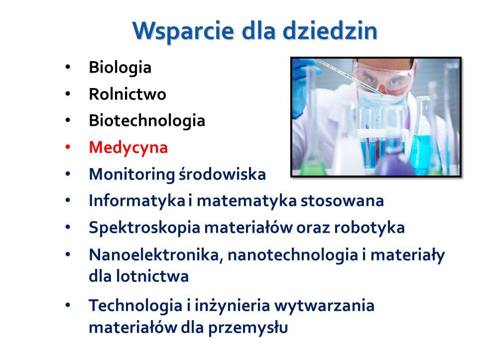 Wsparcie dla dziedzin Biologia Rolnictwo Biotechnologia Medycyna Monitoring środowiska Informatyka i matematyka stosowana Spektroskopia materiałów oraz robotyka Nanoelektronika, nanotechnologia i materiały dla lotnictwa Technologia i inżynieria wytwarzania materiałów dla przemysłu