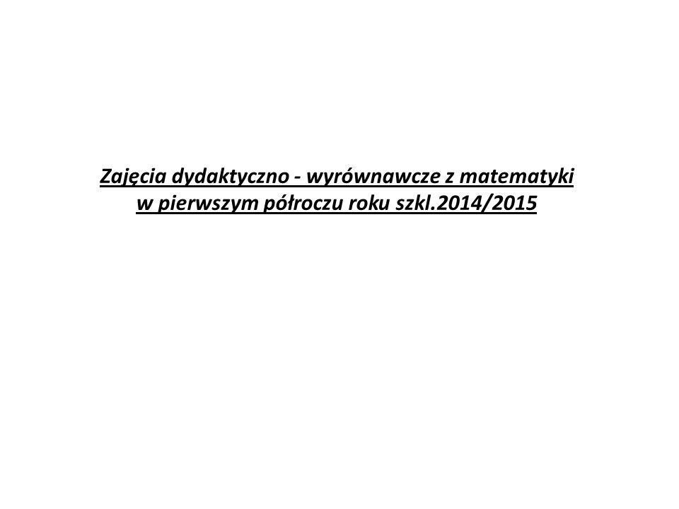 Zajęcia dydaktyczno - wyrównawcze z matematyki w pierwszym półroczu roku szkl.2014/2015