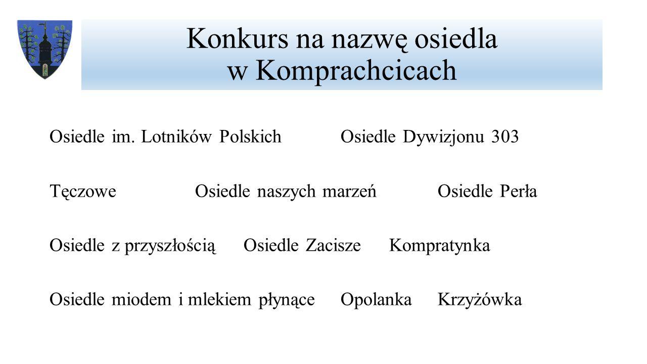Konkurs na nazwę osiedla w Komprachcicach Osiedle im.