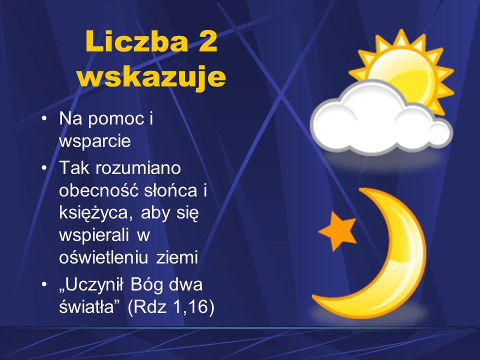 """Liczba 2 wskazuje Na pomoc i wsparcie Tak rozumiano obecność słońca i księżyca, aby się wspierali w oświetleniu ziemi """"Uczynił Bóg dwa światła (Rdz 1,16)"""
