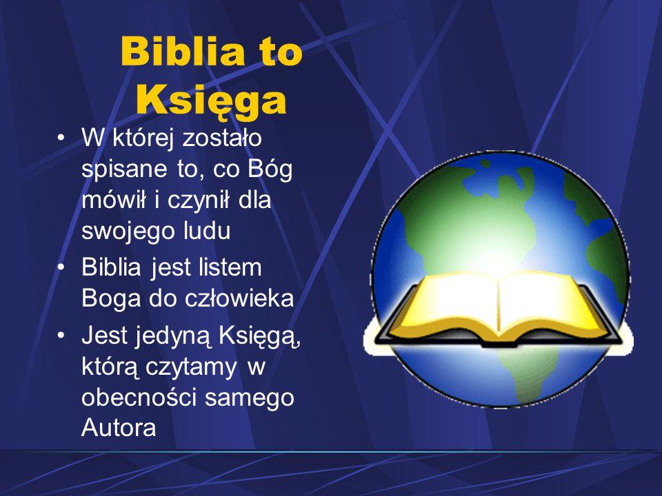 Biblia to Księga W której zostało spisane to, co Bóg mówił i czynił dla swojego ludu Biblia jest listem Boga do człowieka Jest jedyną Księgą, którą czytamy w obecności samego Autora