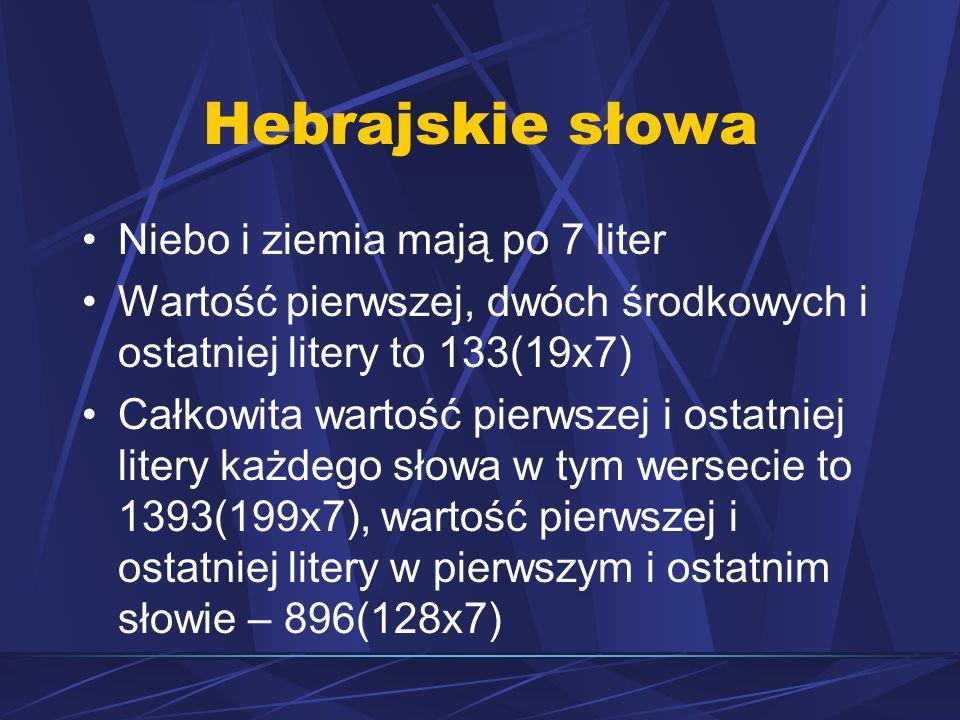 Hebrajskie słowa Niebo i ziemia mają po 7 liter Wartość pierwszej, dwóch środkowych i ostatniej litery to 133(19x7) Całkowita wartość pierwszej i ostatniej litery każdego słowa w tym wersecie to 1393(199x7), wartość pierwszej i ostatniej litery w pierwszym i ostatnim słowie – 896(128x7)
