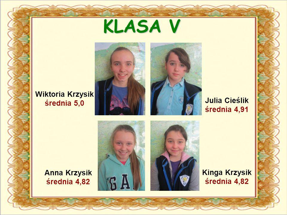 KLASA V Julia Cieślik średnia 4,91 Wiktoria Krzysik średnia 5,0 Anna Krzysik średnia 4,82 Kinga Krzysik średnia 4,82