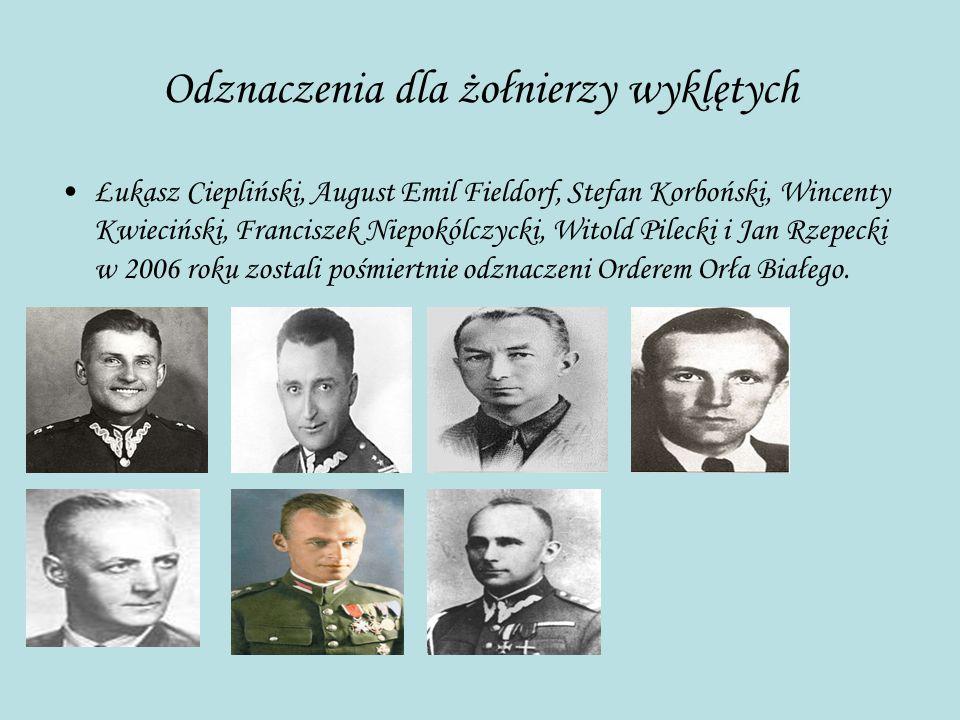 Odznaczenia dla żołnierzy wyklętych Łukasz Ciepliński, August Emil Fieldorf, Stefan Korboński, Wincenty Kwieciński, Franciszek Niepokólczycki, Witold