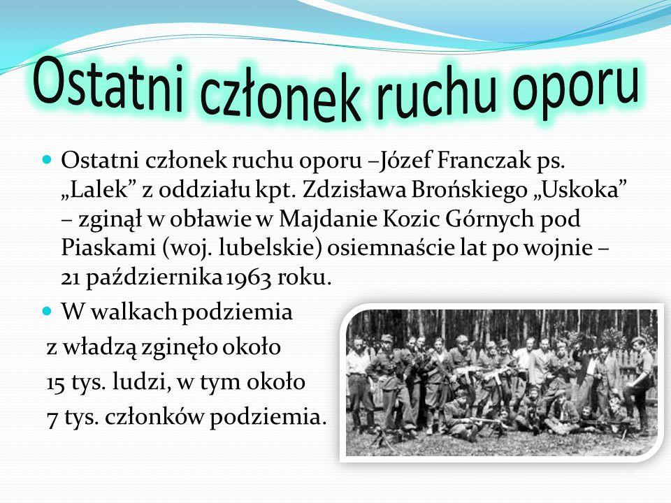 Armia Krajowa Obywatelska Armia Polska w Kraju Delegatura Siły Zbrojnych na Kraj Konspiracyjne Siły Zbrojne po 1944 roku Narodowe Zjednoczenie Wojskowe NIE Ruch Oporu Armii Krajowej Wielkopolska Samodzielna Grupa Ochotnicza Warta Wolność i Niezawisłość Wolność i Sprawiedliwość