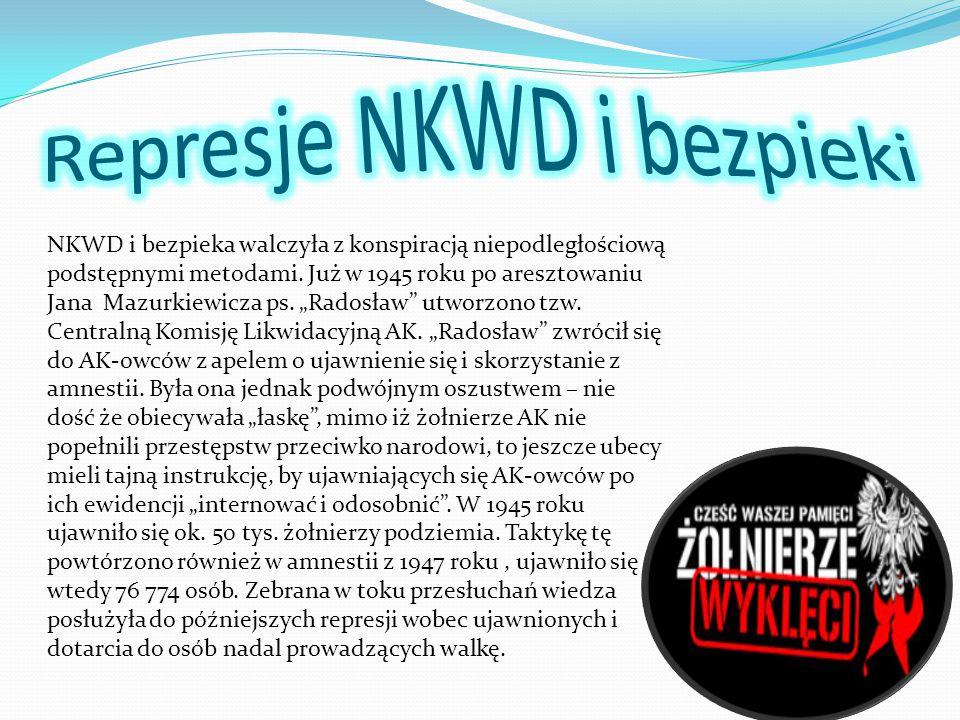 """NKWD i bezpieka walczyła z konspiracją niepodległościową podstępnymi metodami. Już w 1945 roku po aresztowaniu Jana Mazurkiewicza ps. """"Radosław"""" utwor"""