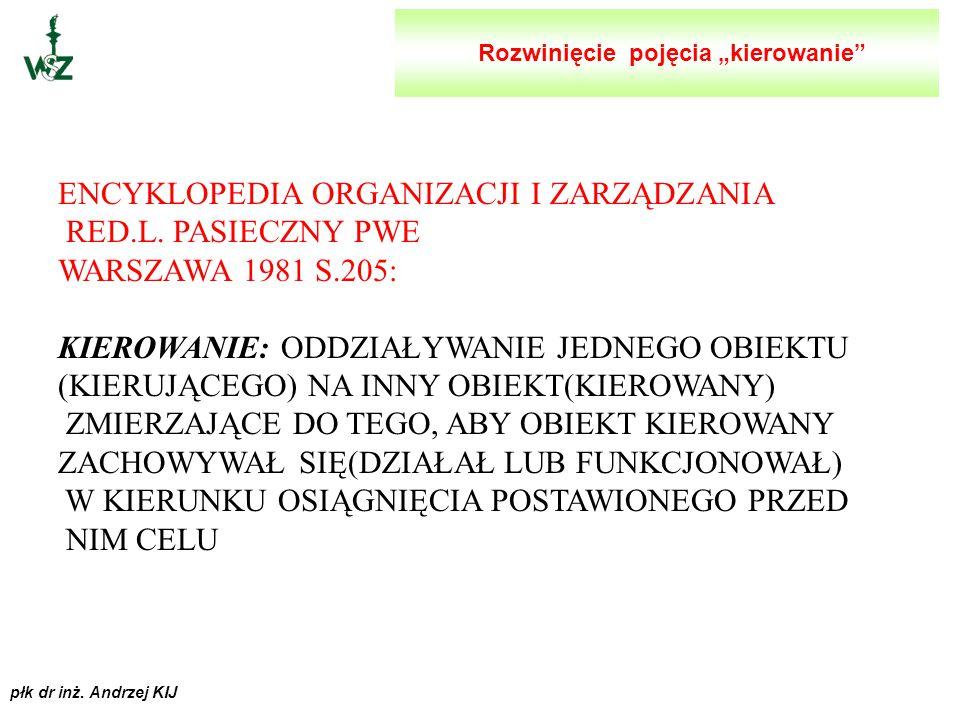 """płk dr inż. Andrzej KIJ ROZWINIĘCIE POJĘCIA """"KIEROWANIE"""" I """"DOWODZENIE"""""""
