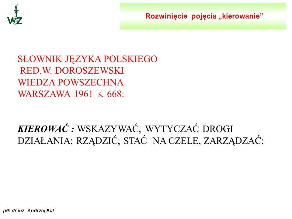 płk dr inż. Andrzej KIJ NOWY SŁOWNIK POPRAWNEJ POLSZCZYZNY RED.A.MARKOWSKI PWN WARSZAWA 1999 s.326: KIEROWAĆ: * WYTYCZAĆ KOMUŚ KIERUNEK W PRZESTRZENI
