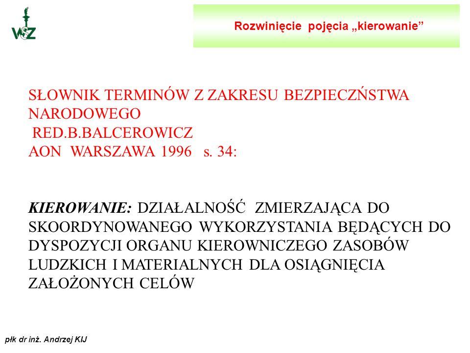 płk dr inż. Andrzej KIJ SŁOWNIK JĘZYKA POLSKIEGO RED.W. DOROSZEWSKI WIEDZA POWSZECHNA WARSZAWA 1961 s. 668: KIEROWAĆ : WSKAZYWAĆ, WYTYCZAĆ DROGI DZIAŁ