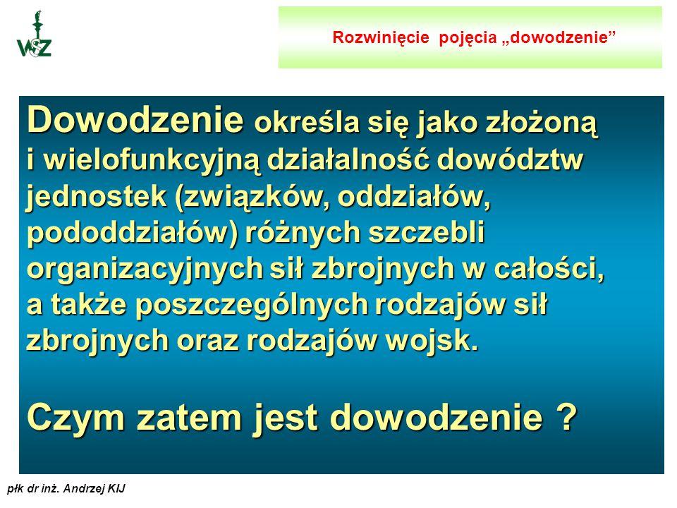 """płk dr inż. Andrzej KIJ ROZWINIĘCIE POJĘCIA """"DOWODZENIE """""""