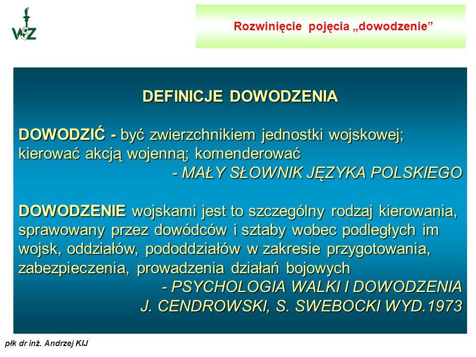 płk dr inż. Andrzej KIJ Dowodzenie określa się jako złożoną i wielofunkcyjną działalność dowództw jednostek (związków, oddziałów, pododdziałów) różnyc