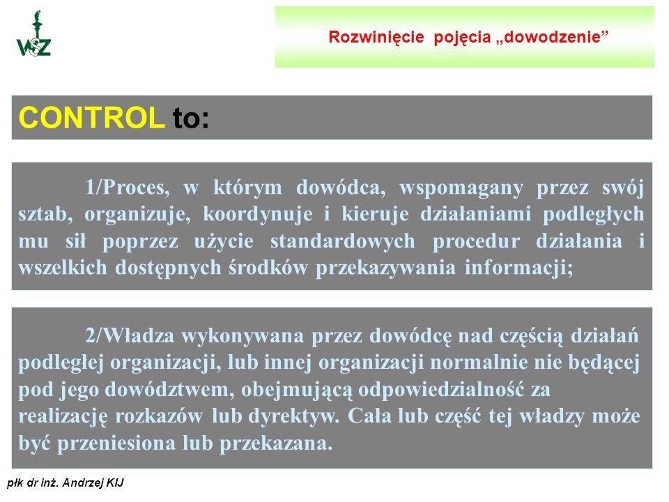 płk dr inż. Andrzej KIJ 1/ Proces, w ramach którego dowódca zmusza podwładnych do działania zgodnie ze swoją wolą i zamiarami. Obejmuje on władzę i od