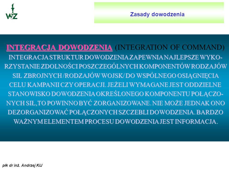 płk dr inż. Andrzej KIJ STRUKTURA DOWODZENIA STRUKTURA DOWODZENIA (CLEAR CHAIN OF COMMAND) STRUKTURA SYSTEMU DOWODZENIA JEST HIERARCHICZNA. POMIMO TO