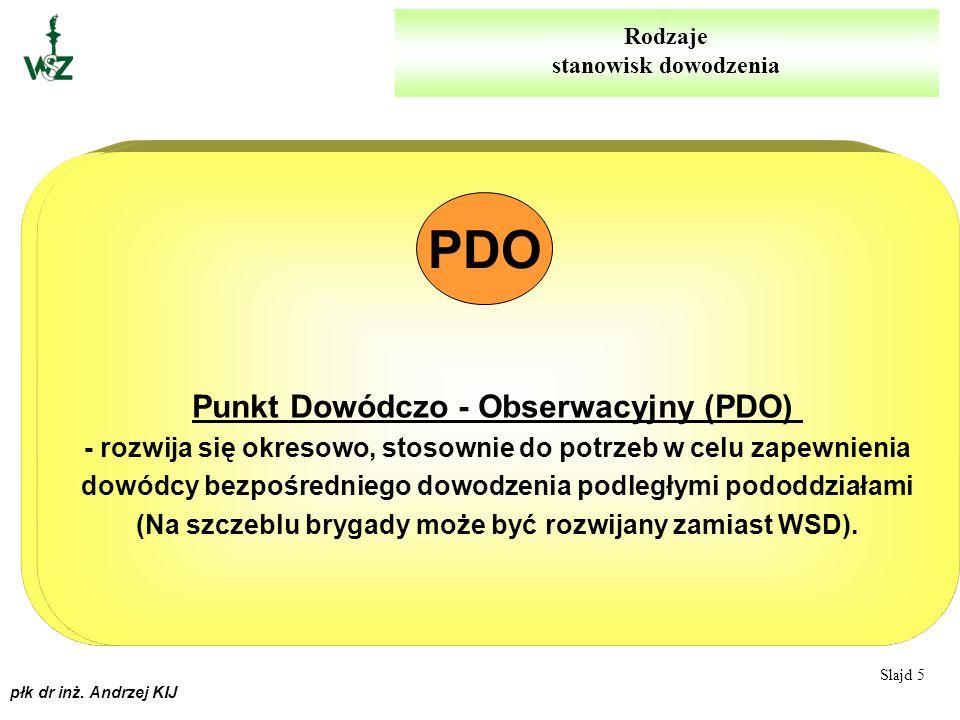 płk dr inż. Andrzej KIJ Wysunięte Stanowiska Dowodzenia (WSD) - rozwija się okresowo, stosownie do potrzeb w celu zapewnienia dowódcy bezpośredniego d