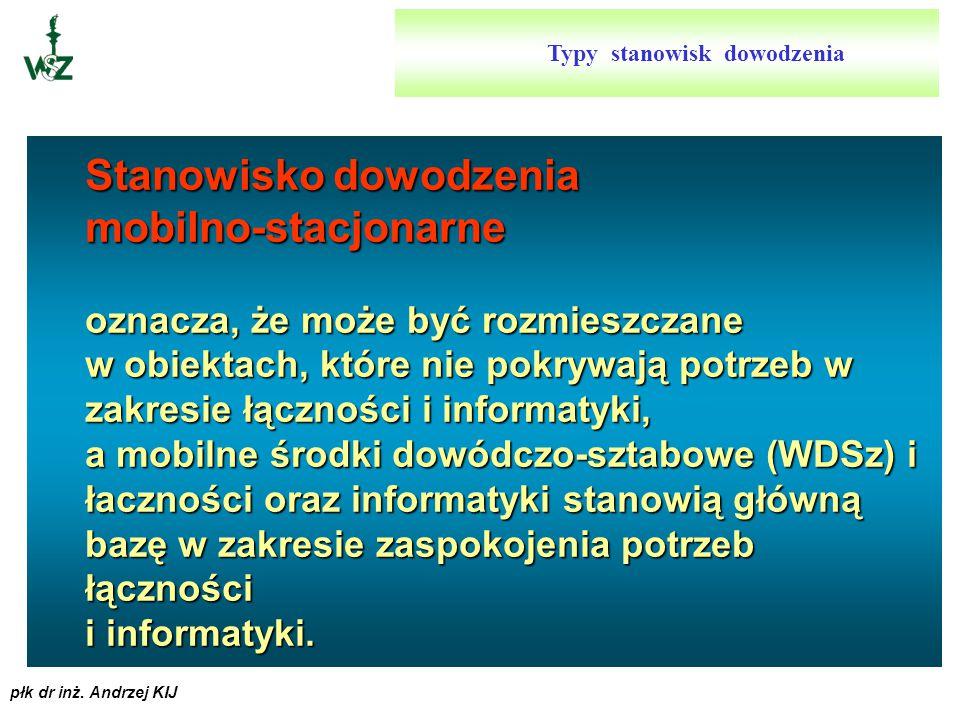 płk dr inż. Andrzej KIJ Stanowisko dowodzenia stacjonarno-mobilne oznacza, że jest rozmieszczane w wybranych i przygotowanych wcześniej obiektach, a ś