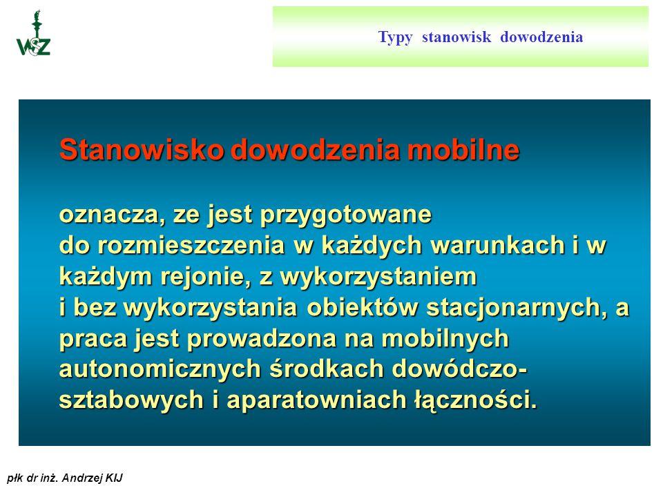 płk dr inż. Andrzej KIJ Stanowisko dowodzenia mobilno-stacjonarne oznacza, że może być rozmieszczane w obiektach, które nie pokrywają potrzeb w zakres