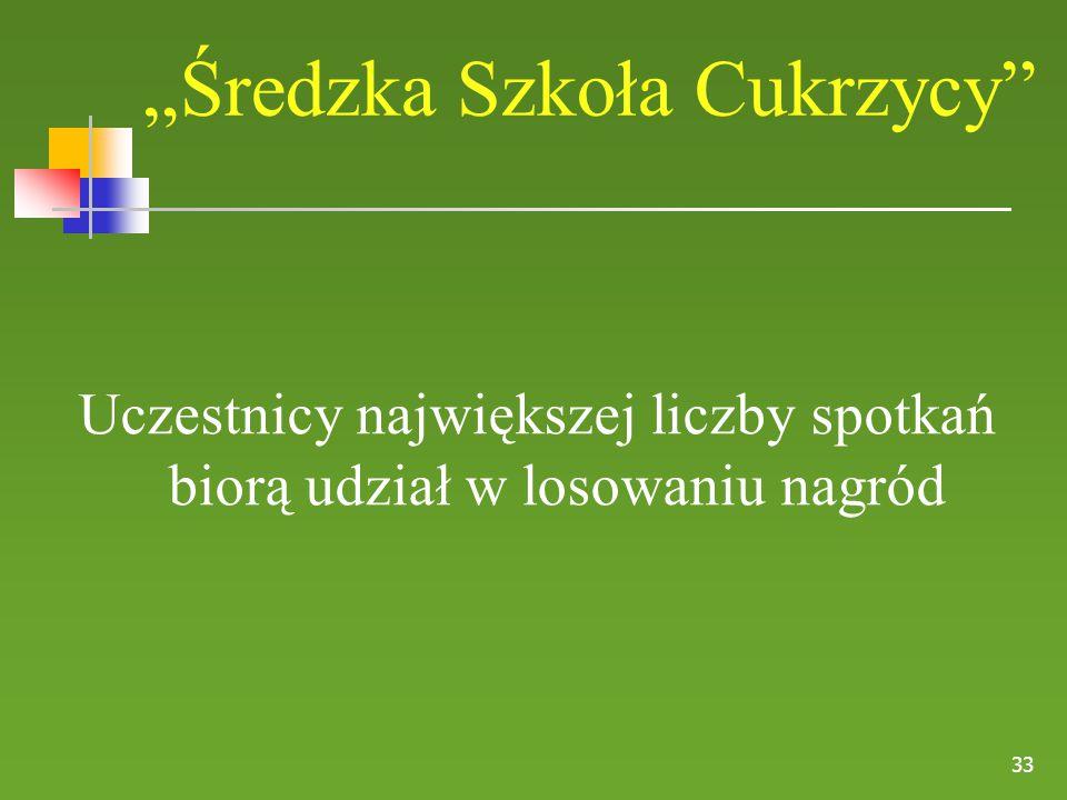 """33 """"Średzka Szkoła Cukrzycy"""" Uczestnicy największej liczby spotkań biorą udział w losowaniu nagród"""