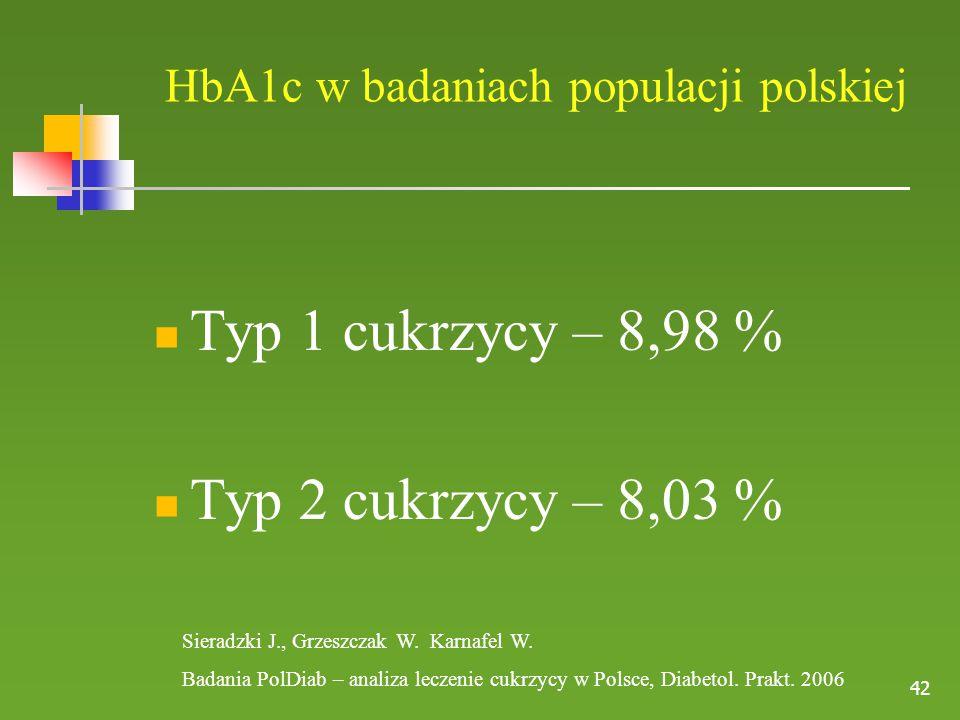 42 HbA1c w badaniach populacji polskiej Typ 1 cukrzycy – 8,98 % Typ 2 cukrzycy – 8,03 % Sieradzki J., Grzeszczak W.