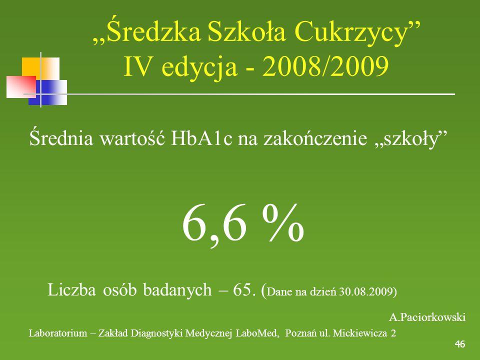 """46 Średnia wartość HbA1c na zakończenie """"szkoły"""" 6,6 % Liczba osób badanych – 65. ( Dane na dzień 30.08.2009) A.Paciorkowski Laboratorium – Zakład Dia"""