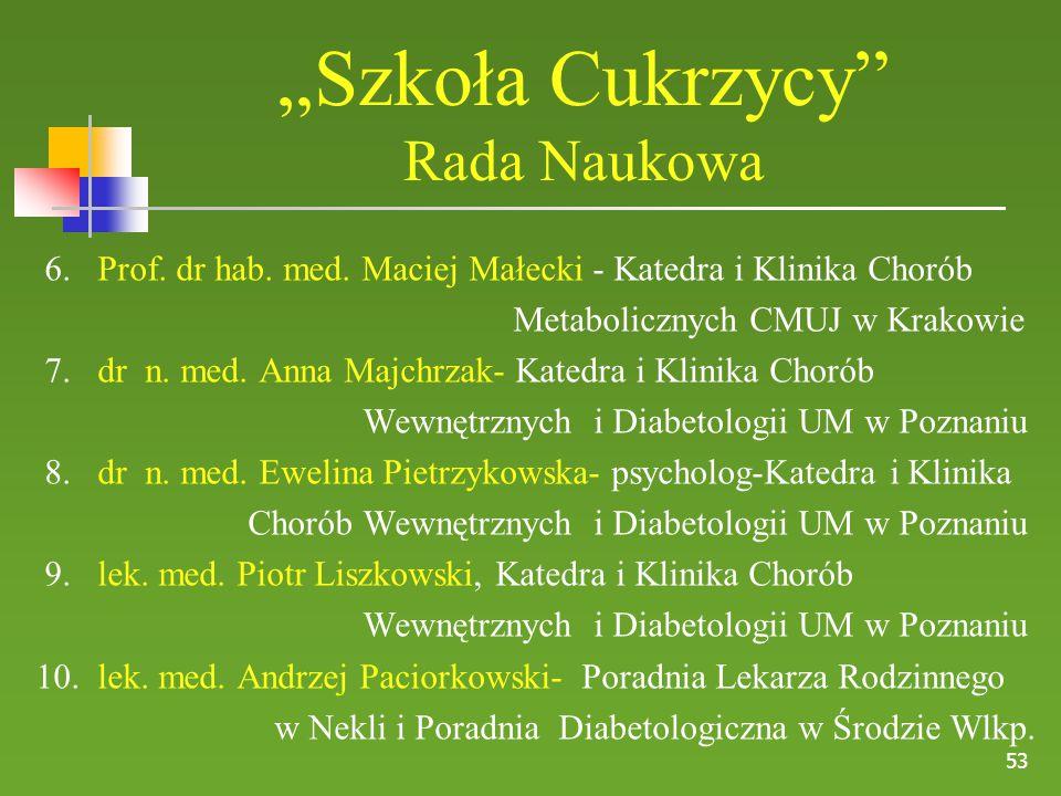 """53 """"Szkoła Cukrzycy"""" Rada Naukowa 6. Prof. dr hab. med. Maciej Małecki - Katedra i Klinika Chorób Metabolicznych CMUJ w Krakowie 7. dr n. med. Anna Ma"""