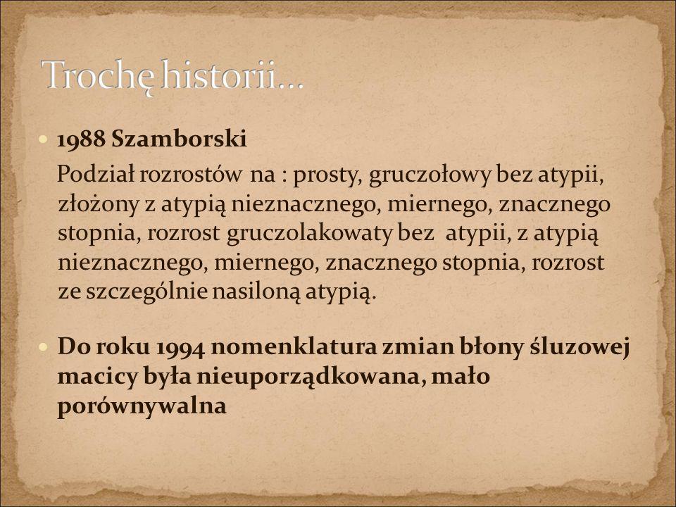 1988 Szamborski Podział rozrostów na : prosty, gruczołowy bez atypii, złożony z atypią nieznacznego, miernego, znacznego stopnia, rozrost gruczolakowa