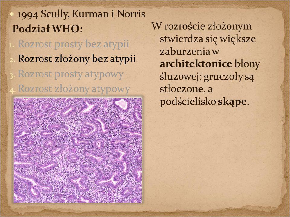 1994 Scully, Kurman i Norris Podział WHO: 1. Rozrost prosty bez atypii 2. Rozrost złożony bez atypii 3. Rozrost prosty atypowy 4. Rozrost złożony atyp
