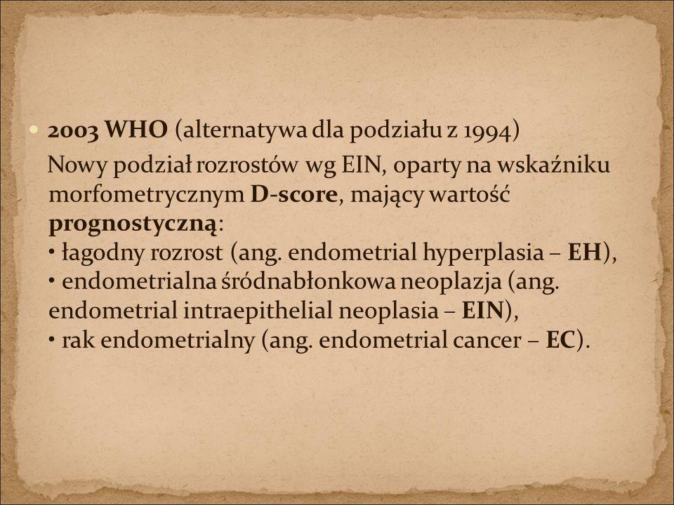 2003 WHO (alternatywa dla podziału z 1994) Nowy podział rozrostów wg EIN, oparty na wskaźniku morfometrycznym D-score, mający wartość prognostyczną: ł