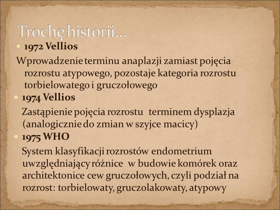 1972 Vellios Wprowadzenie terminu anaplazji zamiast pojęcia rozrostu atypowego, pozostaje kategoria rozrostu torbielowatego i gruczołowego 1974 Vellio