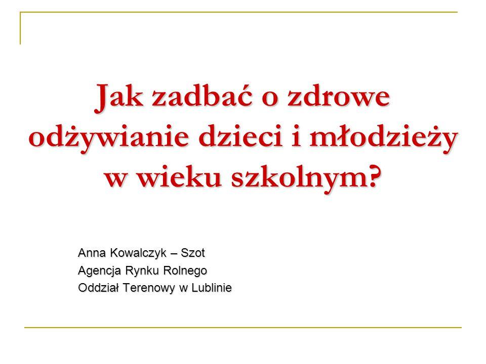 Jak zadbać o zdrowe odżywianie dzieci i młodzieży w wieku szkolnym? Anna Kowalczyk – Szot Agencja Rynku Rolnego Oddział Terenowy w Lublinie