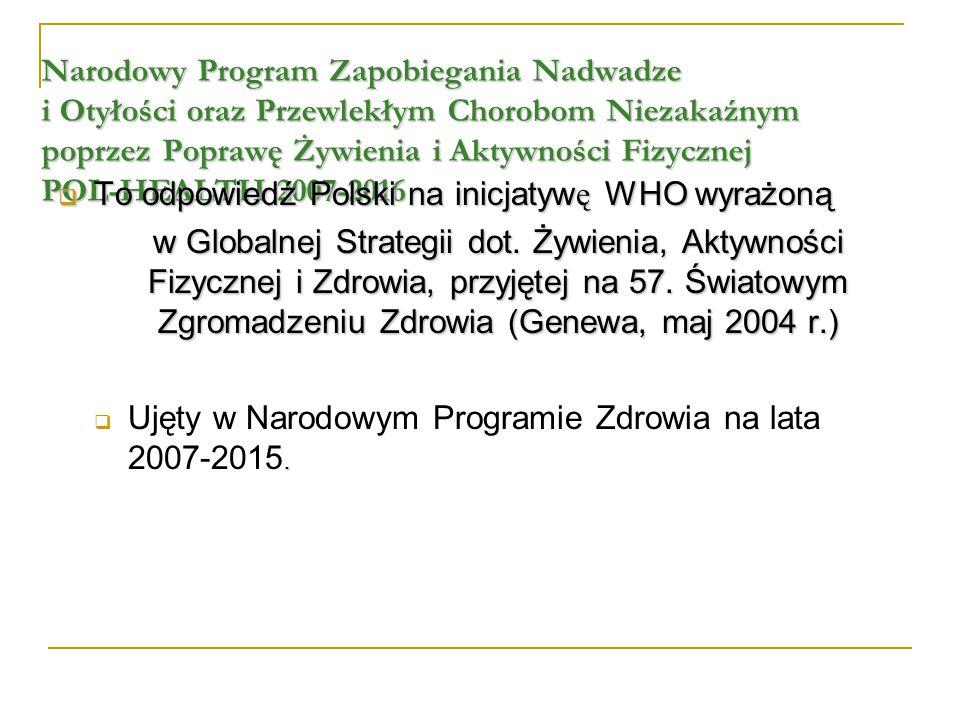 Narodowy Program Zapobiegania Nadwadze i Otyłości oraz Przewlekłym Chorobom Niezakaźnym poprzez Poprawę Żywienia i Aktywności Fizycznej POL-HEALTH 200