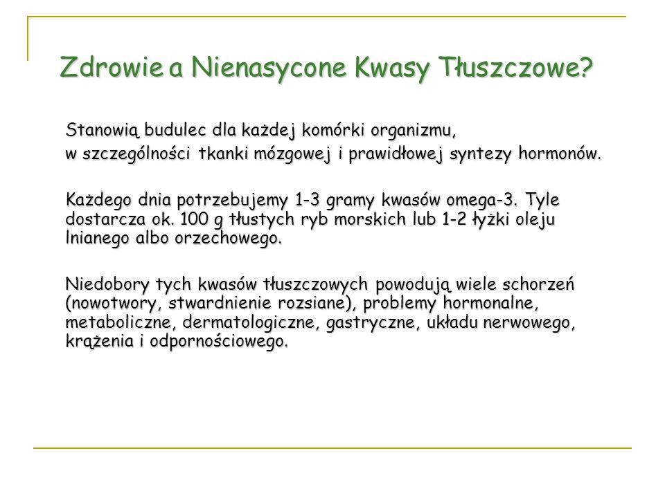Zdrowie a Nienasycone Kwasy Tłuszczowe? Stanowią budulec dla każdej komórki organizmu, w szczególności tkanki mózgowej i prawidłowej syntezy hormonów.