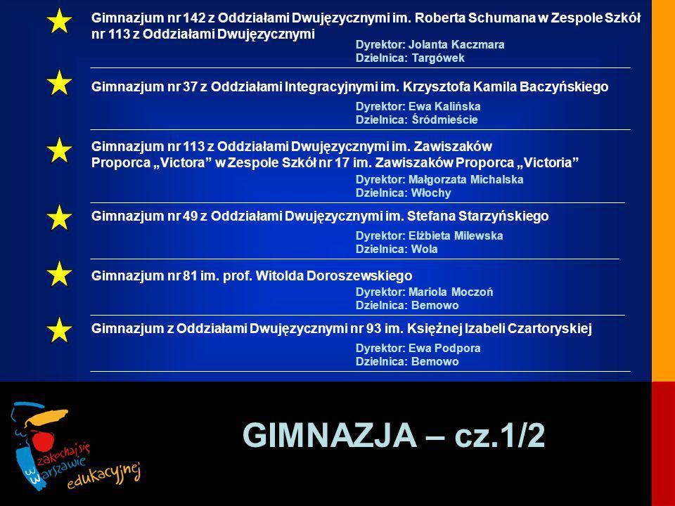 GIMNAZJA – cz.1/2 Gimnazjum nr 142 z Oddziałami Dwujęzycznymi im.