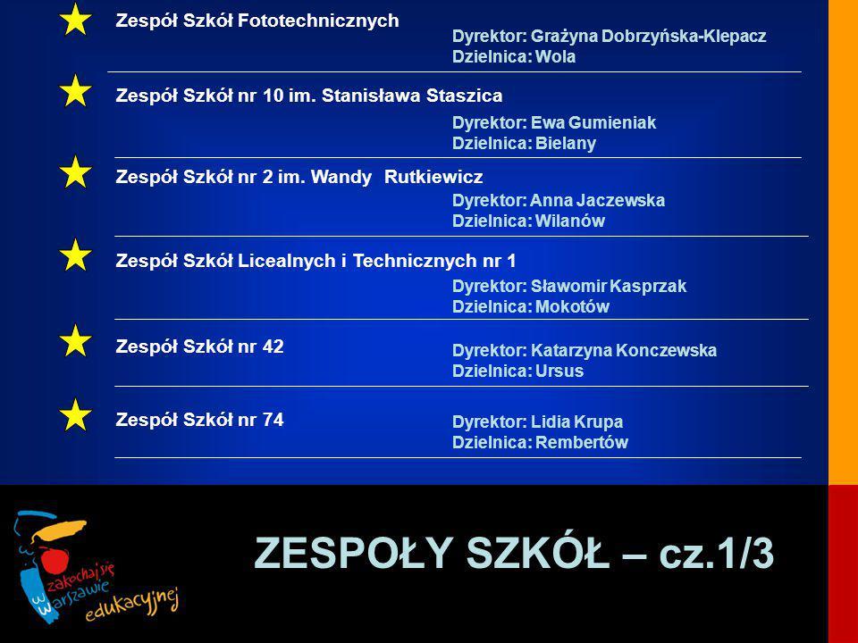 ZESPOŁY SZKÓŁ – cz.1/3 Zespół Szkół Fototechnicznych Dyrektor: Grażyna Dobrzyńska-Klepacz Dzielnica: Wola Zespół Szkół nr 10 im.