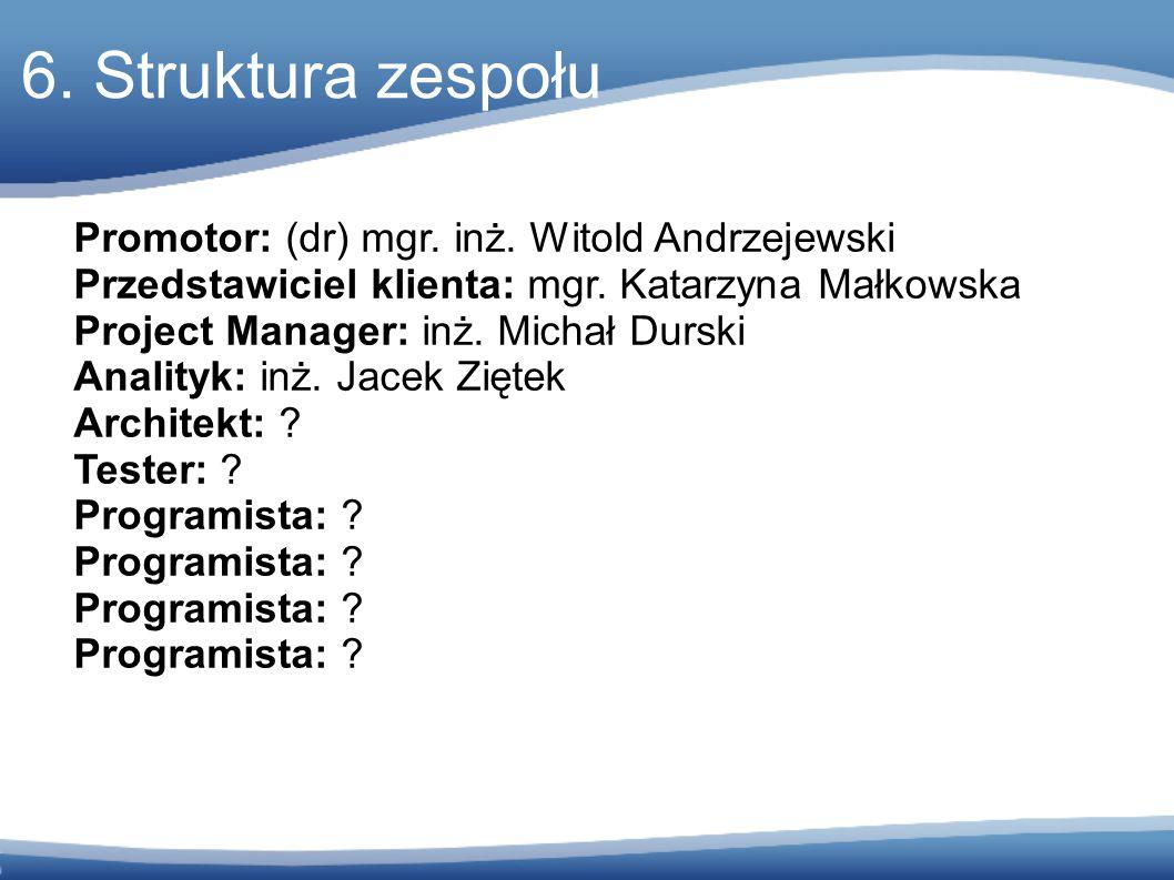 6. Struktura zespołu Promotor: (dr) mgr. inż. Witold Andrzejewski Przedstawiciel klienta: mgr.