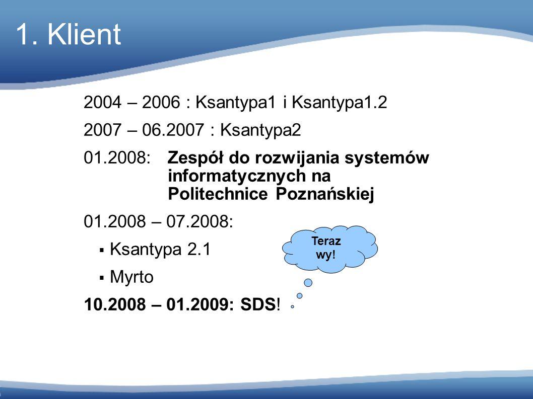 2004 – 2006 : Ksantypa1 i Ksantypa1.2 2007 – 06.2007 : Ksantypa2 01.2008: Zespół do rozwijania systemów informatycznych na Politechnice Poznańskiej 01.2008 – 07.2008:  Ksantypa 2.1  Myrto 10.2008 – 01.2009: SDS.