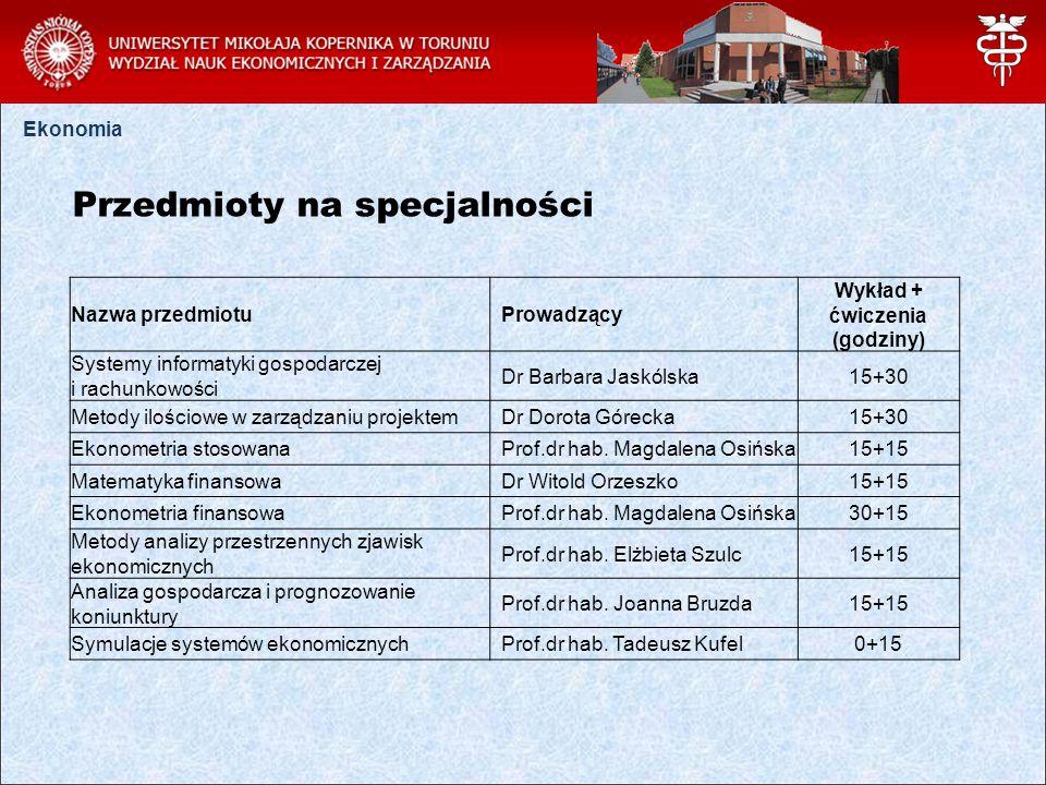 Ekonomia Przedmioty na specjalności Nazwa przedmiotu Prowadzący Wykład + ćwiczenia (godziny) Systemy informatyki gospodarczej i rachunkowości Dr Barbara Jaskólska15+30 Metody ilościowe w zarządzaniu projektem Dr Dorota Górecka15+30 Ekonometria stosowana Prof.dr hab.