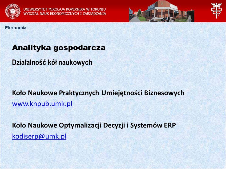 Ekonomia Analityka gospodarcza Działalność kół naukowych Koło Naukowe Praktycznych Umiejętności Biznesowych www.knpub.umk.pl Koło Naukowe Optymalizacji Decyzji i Systemów ERP kodiserp@umk.pl
