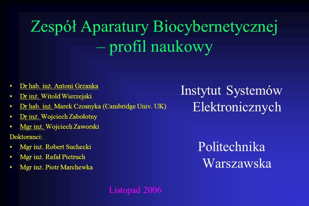 Zespół Aparatury Biocybernetycznej – profil naukowy Dr hab. inż. Antoni Grzanka Dr inż. Witold Wierzejski Dr hab. inż. Marek Czosnyka (Cambridge Univ.