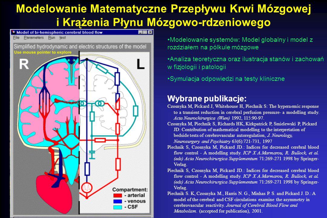 Modelowanie Matematyczne Przepływu Krwi Mózgowej i Krążenia Płynu Mózgowo-rdzeniowego Modelowanie systemów: Model globalny i model z rozdziałem na pól