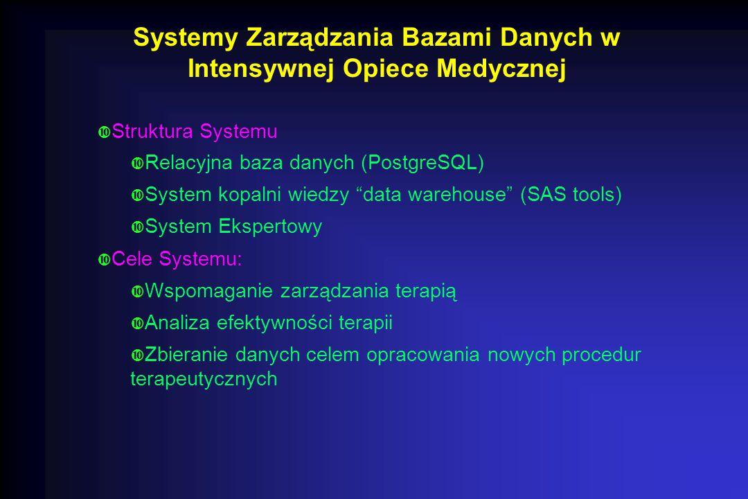 """Systemy Zarządzania Bazami Danych w Intensywnej Opiece Medycznej  Struktura Systemu  Relacyjna baza danych (PostgreSQL)  System kopalni wiedzy """"dat"""