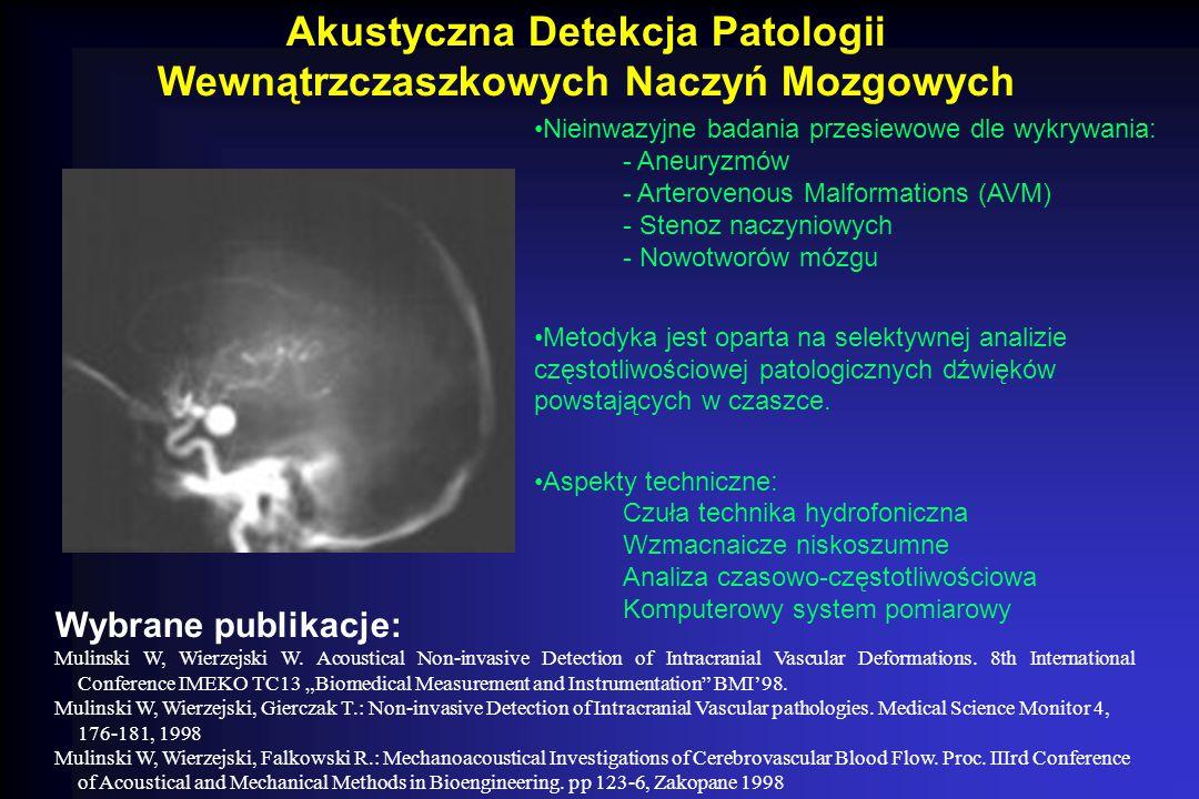 Bezinwazyjne Techniki Pomiarowe w Mechano-miografii Wykrywanie - Myopatii - Atrofii neurogennej - Dystrofii Duchenne'a Metodyka analizy częstotliwościowej spontanicznych dźwięków pochodzących z mięśni w odpowiedzi na obciążenie Aspekty techniczne: Czuła mikrofonia akcerometryczna Analiza czasowo-częstotliwościowa sygnałów Skomputeryzowany system pomiarowy Wybrane publikacje: Mulinski W, Wierzejski, Falkowski R.: Mechanoacoustical Investigations of Cerebrovascular Blood Flow.